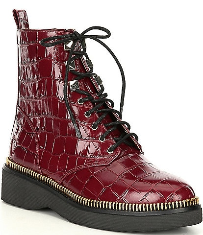 MICHAEL Michael Kors Haskell Croco Embossed Lace-Up Leather Booties