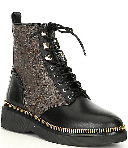 MICHAEL Michael Kors Haskell Logo Detail Leather Booties