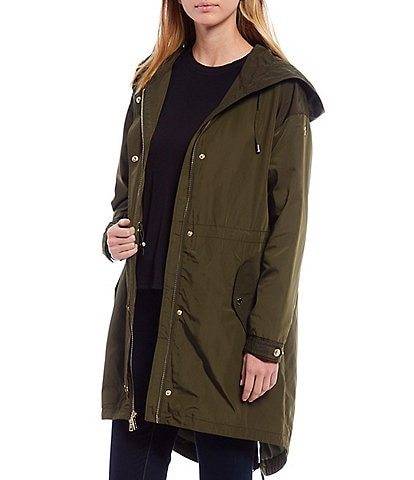 MICHAEL Michael Kors Hooded Four Pocket Water Resistant Camo Print Anorak Coat