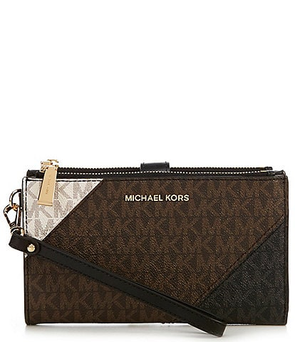 Michael Kors Signature Jet Set Double Zip Colorblock Wristlet