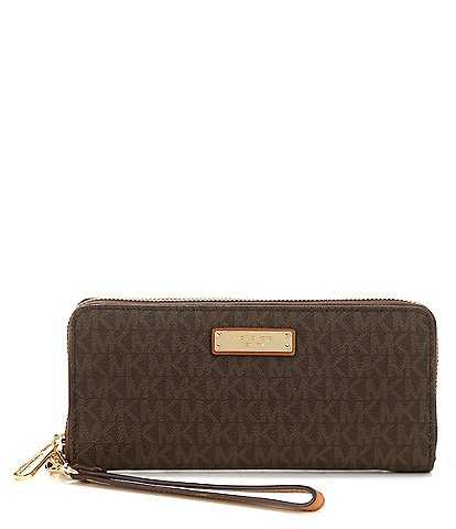 861a1f99144b MICHAEL Michael Kors Jet Set Signature Continental Travel Canvas Wallet