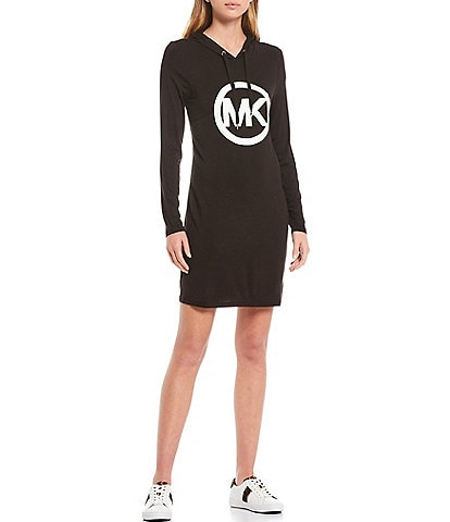 MICHAEL Michael Kors Knit Jersey Cirlce Logo Hoodie Dress