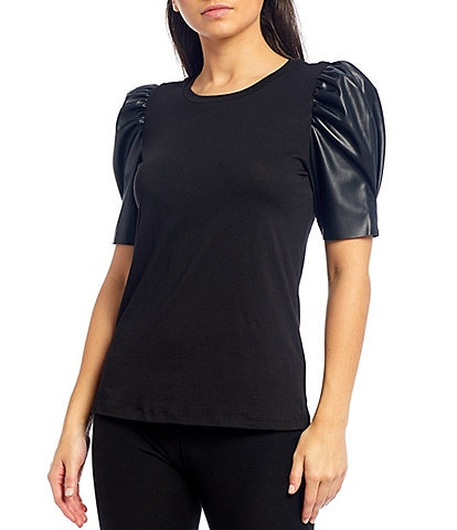 MICHAEL Michael Kors Knit Jersey Faux Leather Puff Sleeve Top