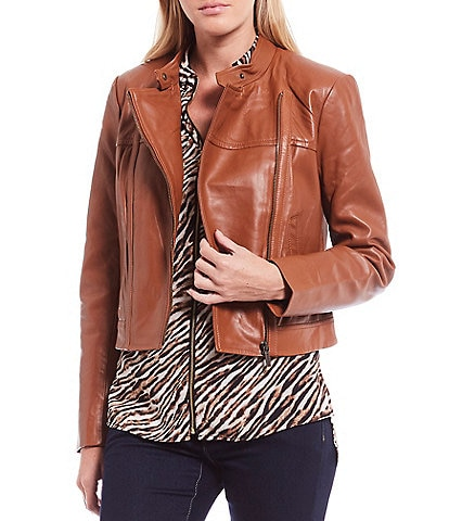 MICHAEL Michael Kors Genuine Leather Moto Jacket