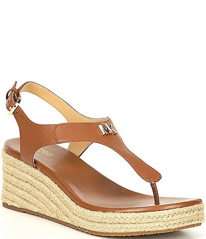 MICHAEL Michael Kors Laney Snake Print Leather Thong Espadrille Wedges