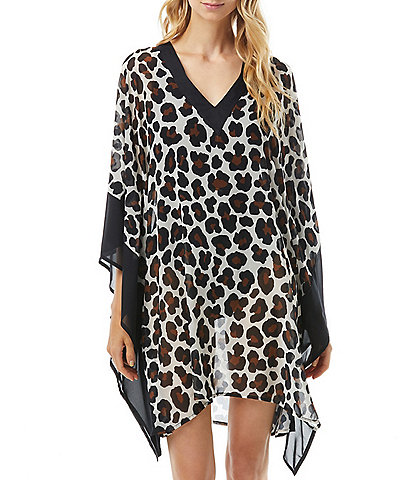 MICHAEL Michael Kors Large Leopard V-Neck Caftan Swim Cover Up