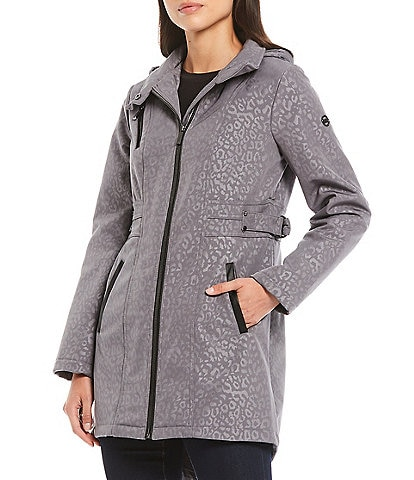 MICHAEL Michael Kors Leopard Embossed Water Resistant Anorak Coat with Hood
