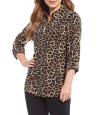 MICHAEL Michael Kors Leopard Print Pebble Crepe Roll-Tab Sleeve Zip Front Top