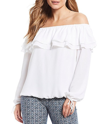 MICHAEL Michael Kors Liquid Crepe Double Layer Ruffle Off-the-Shoulder Top