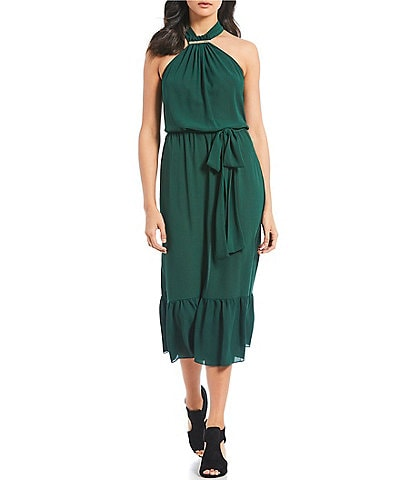 MICHAEL Michael Kors Logo Bar Halter Neck Midi Length Belted Crepe Blouson Dress