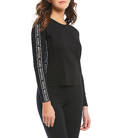 MICHAEL Michael Kors Logo Tape Trim Long Sleeve Knit Jersey Top