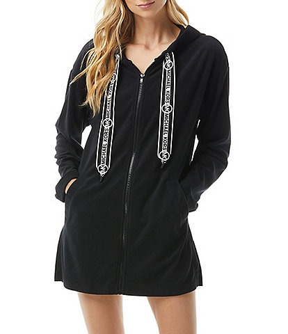 MICHAEL Michael Kors Logo Tape Zip Front Hoodie Swim Cover Up
