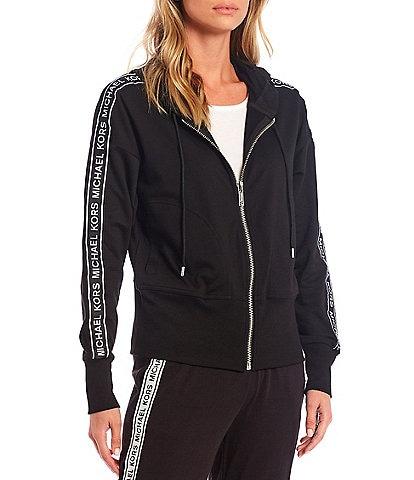 MICHAEL Michael Kors Logo Tape Zip Up Long Sleeve Cotton Blend Terry Coordinating Hoodie