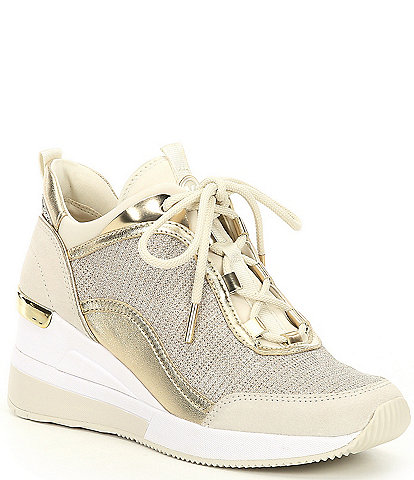 MICHAEL Michael Kors Lolly Glitter Fabric Lace-Up Wedge Trainers