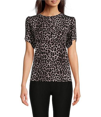 MICHAEL Michael Kors Mega Cheetah Print Lux Matte Jersey Tulip Sleeve Top