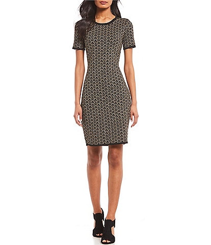 MICHAEL Michael Kors Metallic Deco Scallop Print Knit Jacquard Short Sleeve Dress