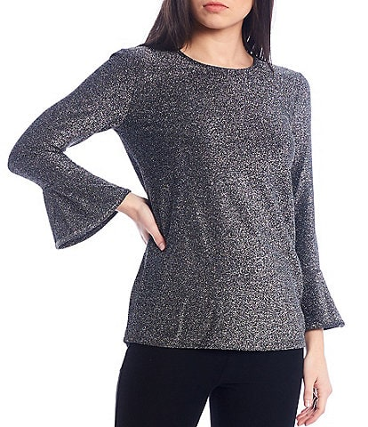 MICHAEL Michael Kors Metallic Jersey Flare Sleeve Top