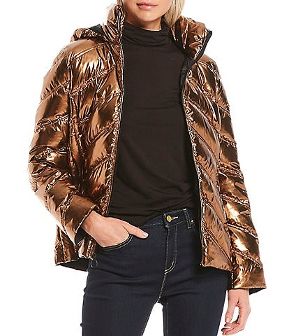 MICHAEL Michael Kors Metallic Packable Water Resistant Chevron Body Puffer Coat
