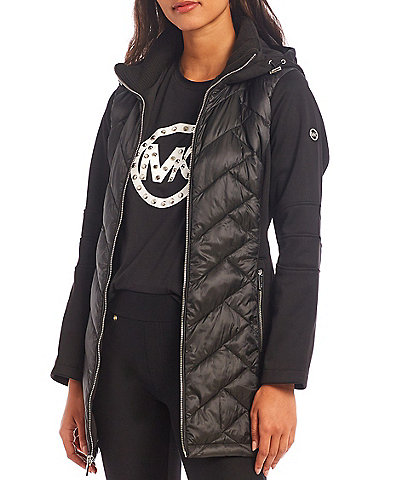 MICHAEL Michael Kors Mixed Media Hybrid Quilted Midweight Hooded Raincoat