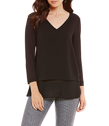 MICHAEL Michael Kors Mixed Woven and Knit Layered Hem Top
