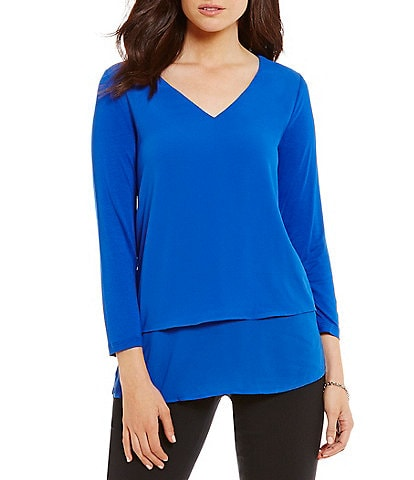 61c18a2d78103 MICHAEL Michael Kors Mixed Woven and Knit Layered Hem Top