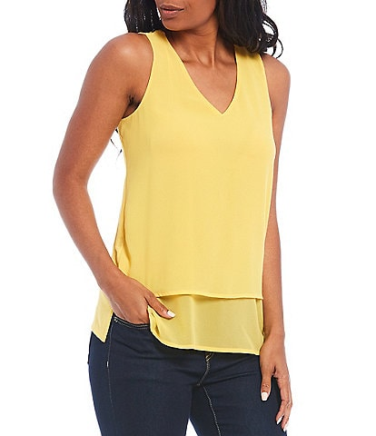MICHAEL Michael Kors Mixed Woven and Knit V-Neck Sleeveless Layered Hem Top