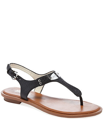 MICHAEL Michael Kors Leather MK Plate Thong Sandals