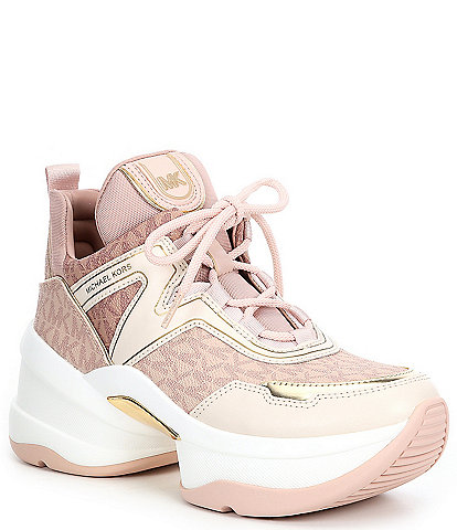 MICHAEL Michael Kors Olympia Logo Print Lace-Up Wedge Trainers