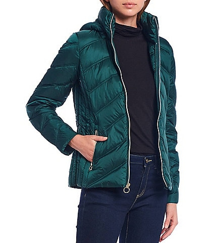 MICHAEL Michael Kors Packable Water Resistant Chevron Body Puffer Coat