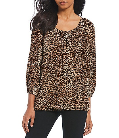 MICHAEL Michael Kors Persian Leopard Print Knit Jersey Peasant Top