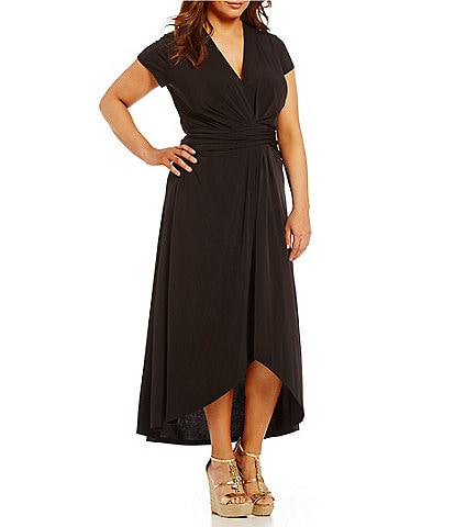 MICHAEL Michael Kors Plus Faux-Wrap Style V-Neck Cap Sleeve Sash-Belt Hi-Low Maxi Dress