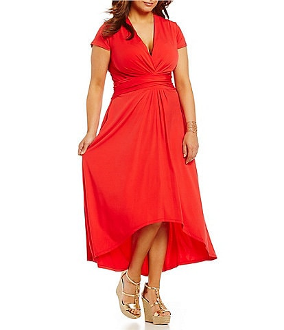 MICHAEL Michael Kors Plus Faux-Wrap Style V-Neck Cap Sleeve Sash-Belt Hi-Low Dress