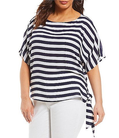 ae68a5012ff5e MICHAEL Michael Kors Plus Graphic Stripe Print Side Tie Detail Top