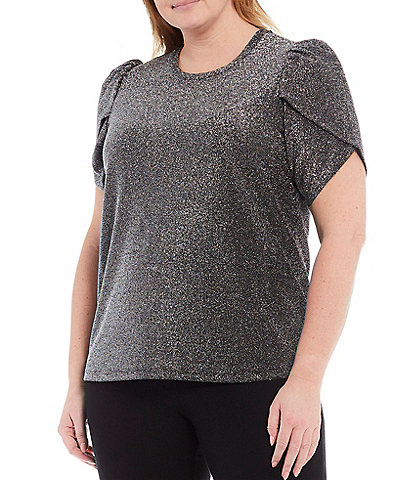 MICHAEL Michael Kors Plus Metallic Matte Jersey Petal Sleeve Top