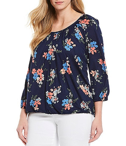 MICHAEL Michael Kors Plus Size Blooming Bouquet Print Knit Jersey Scoop Neck Peasant Top