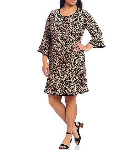 MICHAEL Michael Kors Plus Size Cheetah Print Matte Jersey Flounce Sleeve Tubular Trim A-Line Dress