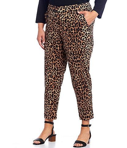 MICHAEL Michael Kors Plus Size Cheetah Print Ponte Knit Pull-On Slim Leg Ankle Pants
