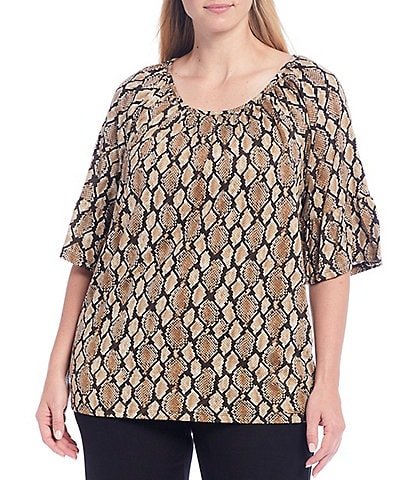 MICHAEL Michael Kors Plus Size Diamond Snakeskin Print Knit Jersey 3/4 Sleeve Gathered Peasant Top