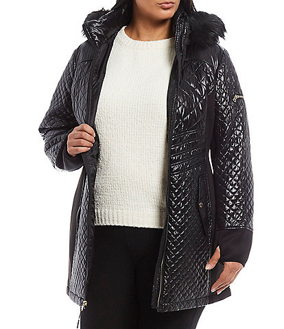 MICHAEL Michael Kors Plus Size Faux Fur Trim Hooded Quilted Coat