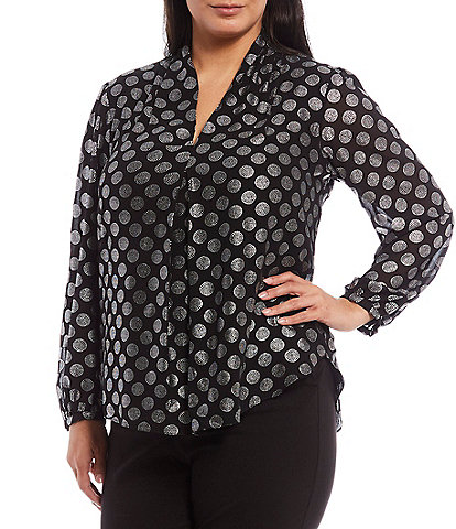 MICHAEL Michael Kors Plus Size Foil Optic Spot Print Georgette Inverted Front Pleat Long Sleeve Top