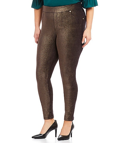 MICHAEL Michael Kors Plus Size Foil Printed Stretch Corduroy Pull-On Leggings