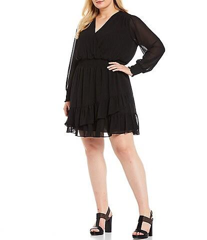 MICHAEL Michael Kors Plus Size Georgette V-Neck Long Sleeve Faux Wrap Dress