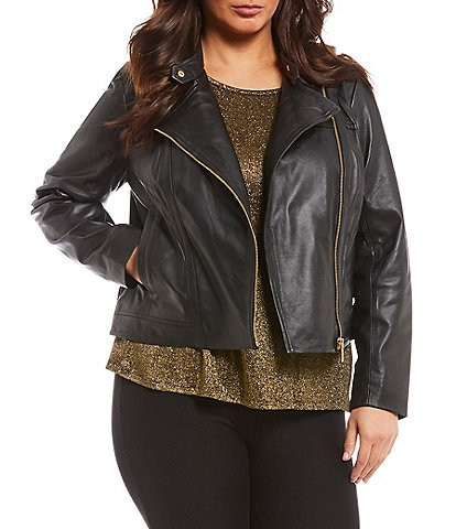2f835c84a87 MICHAEL Michael Kors Plus Size Genuine Leather Moto Jacket