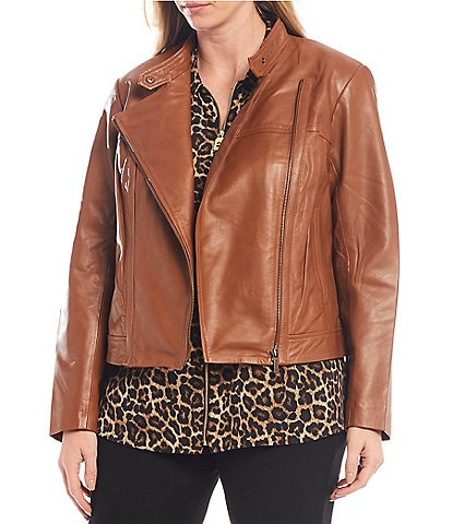 MICHAEL Michael Kors Plus Size Genuine Leather Moto Jacket