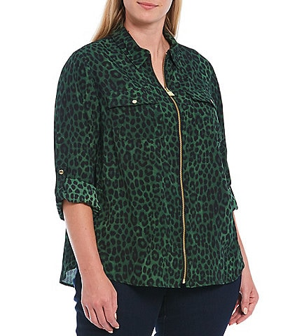 MICHAEL Michael Kors Plus Size Mega Cheetah Print Roll-Tab Sleeve Zip Front Top