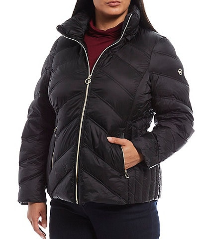 MICHAEL Michael Kors Plus Size Packable Down Hooded Chevron Puffer Coat