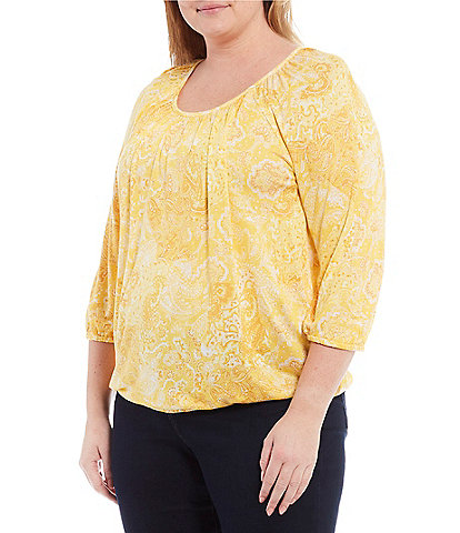 MICHAEL Michael Kors Plus Size Paisley Print Knit Jersey Scoop Neck 3/4 Sleeve Peasant Top
