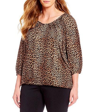MICHAEL Michael Kors Plus Size Persian Leopard Print Knit Jersey Peasant Top