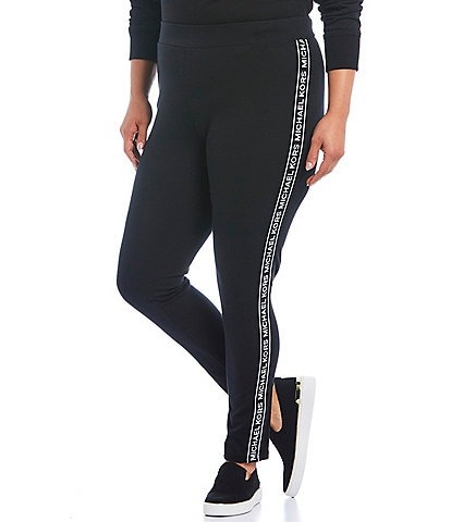 MICHAEL Michael Kors Plus Size Ponte Knit Logo Tape Side-Seam Leggings