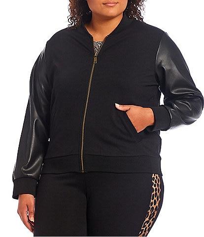 MICHAEL Michael Kors Plus Size Ponte Zipper Front Faux Leather Long Sleeve Shawl Collar Bomber Jacket